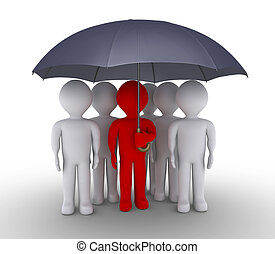 Leader and people are under umbrella - 3d leader is...