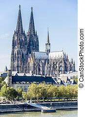 Cathedral of Cologne on banks of Rhine - Cathedral of...