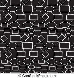 Blackboard chalk mind map seamless pattern background -...