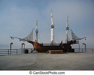 pirat ship - pirate ship replica in lake