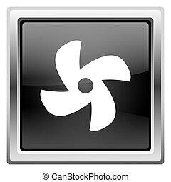 Fan icon - Metallic icon with white design on black...