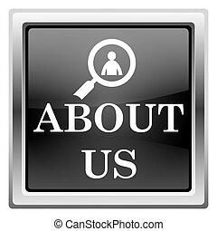 About us icon - Metallic icon with white design on black...