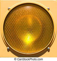 Closeup of stoplight. - Closeup of yellow traffic stoplight.