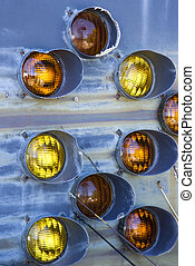 Old taillights on blue siding. - Old taillights together on...