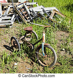 Abandoned rusty tricycle - Old abandoned tricycle in grassy...