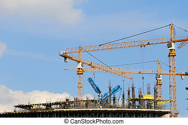 guindastes, construção, local, Industrial,...