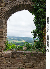 Vista in Cordes sur ciel - vista with landscape in French...