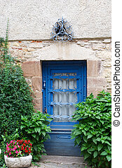 Blue French door - closed blue French door