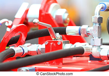 Hydraulic connections of a machinery industrial detail -...