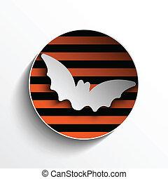 Halloween Bat Circle Frame Pumpkin Button