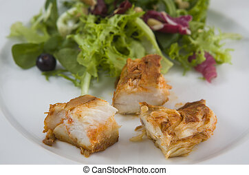 Dogfish marinated with salad, detail - Dogfish marinated...