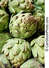 Closeup of Artichokes in a Pile