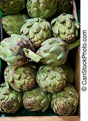 Grocery Store Bin Full of Fresh Green Artichokes