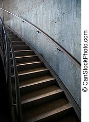 Metal and Concrete Industrial Curved Staircase - Curved...