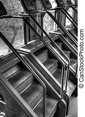 Stair Step Machines at Exercise Gym - Black and white image...