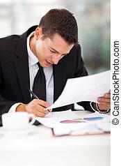 商人, 他的, 寫, 書桌
