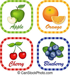 Apple, Orange, Cherry, Blueberry