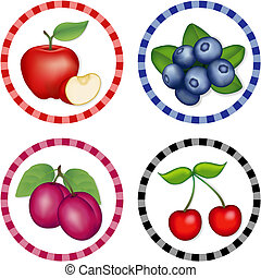 Apples, Blueberry, Cherries, Plums