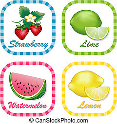 Strawberry, Watermelon, Lemon, Lime