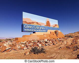 Glen Canyon National Recreation sign - Landscape of Glen...