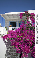 santorini villa - closeup of white luxury accommodation with...