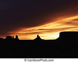 Sunset in Monument Valley.
