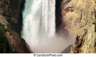 Yellowstone Waterfall - Upper Falls of the Yellowstone,...