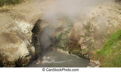 Dragons Mouth Spring - Steam rising from Dragons Mouth...
