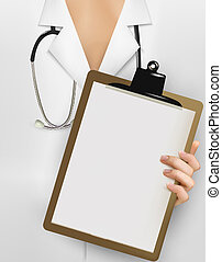 Doctor with stethoscope holding clipboard with blank sheet of paper. Vector illustration.