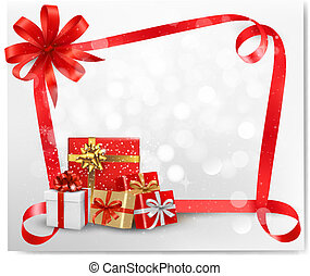 Holiday background with red gift bow and gift boxes. Vector.
