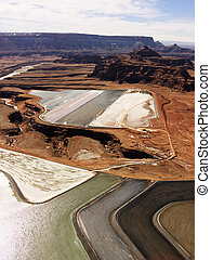 Tailings pond in rural Utah. - Aerial landscape of tailing...