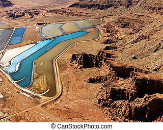Tailings pond in rural Utah - Aerial landscape of tailing...