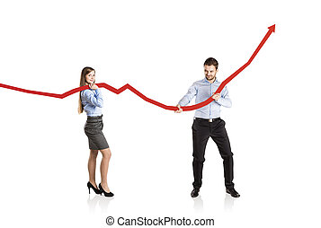 Woman and man with statistics curve - Business woman and man...