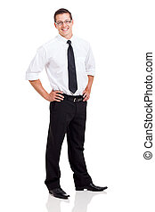 business man standing on white background - happy business...
