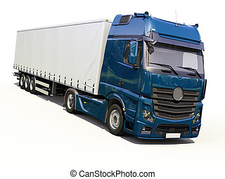 Semi-trailer truck - A modern semi-trailer truck on light...