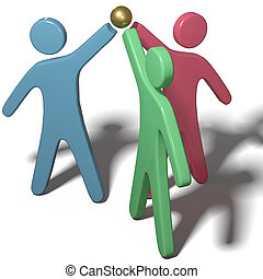 People collaborate join hands teamwork - Three people team...