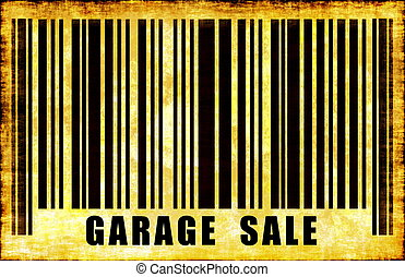 Garage Sale Sign on Abstract Art Background