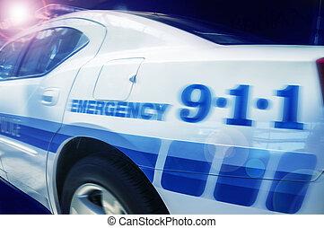 emergencia, respuesta, policía, coche
