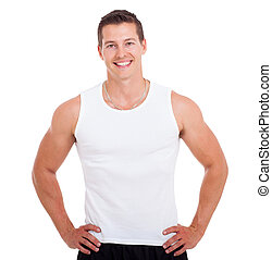 healthy young man on white - portrait of healthy young man...