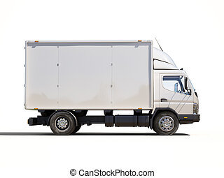 White commercial delivery truck on a ligth background with...