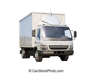 White commercial delivery truck