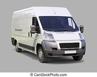 White commercial delivery van on gray background