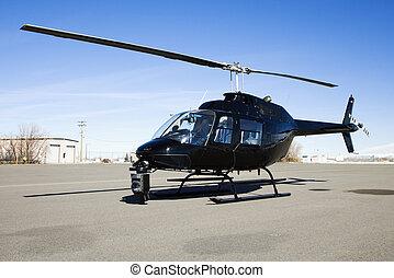 helicóptero, estacionado, aeropuerto, terreno