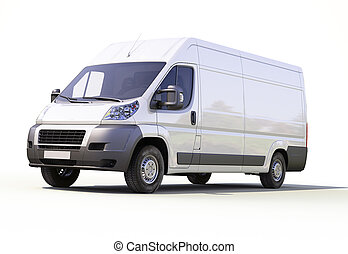White commercial delivery van on a ligth background with...