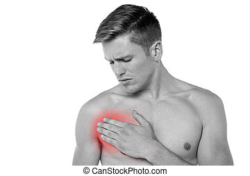 Young man having chest pain - Young man suffering from chest...