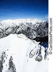 Snowy mountain landscape, Colorado. - Aerial scenic of snowy...