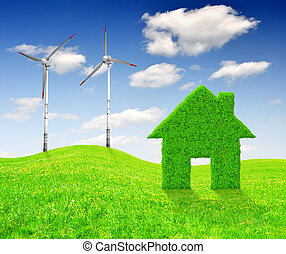green energy concepts - Green house symbol with wind...