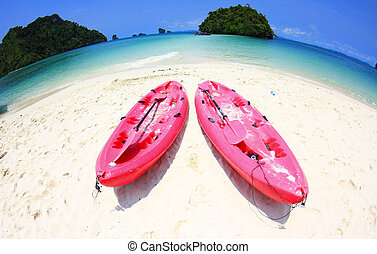 beach and pink Canoe at Andaman sea