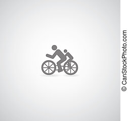 bicycle symbol on gray background
