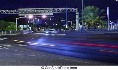 Time lapse motion of cars at night
